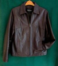 LAKELAND UK 12 Dark Brown Buttersoft REAL LEATHER Hip Zipped Bomber COAT Jacket