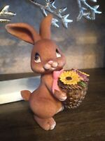 Brown Bunny With Basket Of Flowers. Colorful Cute Easter Décor Or Gift