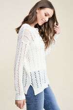 NEW STACCATO pulse boutique ivory eyelet crochet button sweater top M