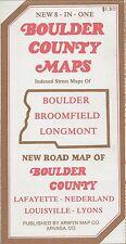 1986 Road Map BOULDER County Longmont Broomfield Nederland Colorado University