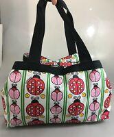 LeSportSac Red Pink Ladybugs 3 Compartment Tote Shoulder Gym Duffel Bag Handbag