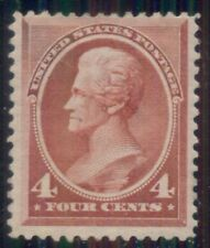 Us #215 4¢ carmine rose, og, hinged fresh and F/Vf+, Scott $180.00
