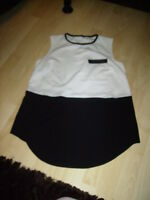 white black sleeveless colour block womens top size 10 (or 10-12) stretchy