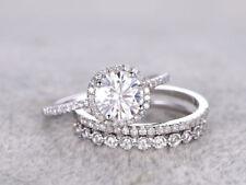 925 Sterling Silver 1.58 Ct Round Moissanite Trio Engagement Wedding Ring Set