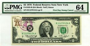 $2 DOLLARS 1976 FIRST DAY STAMP CANCEL BROOKLYN, NY LUCKY MONEY VALUE $1976