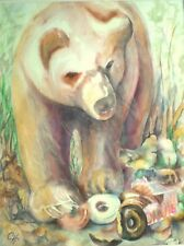 """""""CATCH OF THE DAY', Bear, Donuts Wildlife Realism, Original Signed Water Color"""
