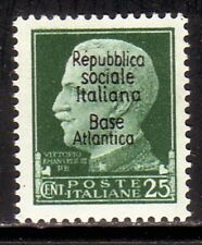 S250  BASE ATLANTICA – 25 c. verde sovr. n. 27. Cat. €. 50 – MNH**