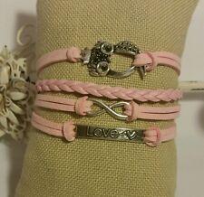 Retro Fashion Leather Bracelet Cute Infinity Charm Jewelry Silver US