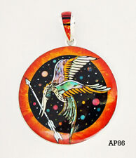 Inlay .925 Sterling Medallion Pendant Hunger Games Mockingjay Inspired Opal Onyx