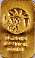 5 GRAIN (NOT GRAM) GOLD BAR OF 24K PURE .999 FINE GOLD STRATEGIC BULLION H3k