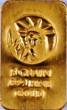 5 Grain (Not Gram) Gold Bar Of 24K Pure .999 Fine Gold Strategic Bullion H4g
