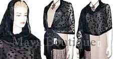 Silk Shawl Scarf Wrap Black Devore Satin Chiffon Maya Matazaro + Gift Box NWT
