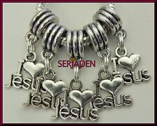 5 I Love Jesus Dangle Charm Silver Plated Fits European Style Bracelet S186