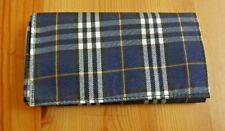 Scottish Plaid Roll up Double Pocket Tri Fold Pipe Tobacco Pouch Dark Blue