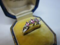 A Beautiful Ladies 9ct White Gold Diamond & Pink Topaz Dress Ring Size O, 1.9g