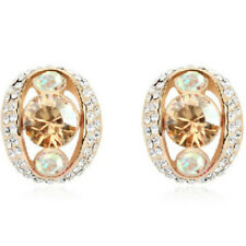 Rose Gold finish Omega-Back Earrings with gold cubic zirconias quality jewellery
