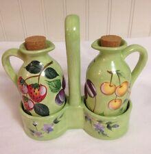Claire Murray Fruit N Berries Oil Vinegar Cruet Set w/ Holder Lifestyles Unused