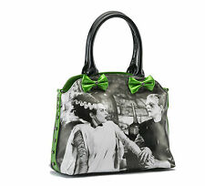 Rock Rebel We Belong Dead Bride of Frankenstein Purse Black Glitter Green