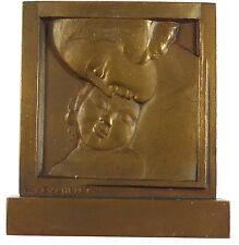 France Art Deco mother & child plaquette COMITE NATIONAL DE L'ENFANCE Bachelet