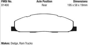 EBC Yellowstuff 4000 Brake Pad Set Rear for Dodge Ram 2500 / 3500 # DP41848R