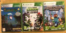 3 PAL XBOX 360 GAMES MINECRAFT + TERRARIA + PLANTS Vs. ZOMBIES GARDEN WARFARE