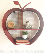 50cm Tall Industrial Style Red Metal Apple Shelf Indoor & Garden Wall Art Unit