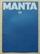 OPEL MANTA Car Sales Brochure 1979-80 DUTCH TEXT  de Luxe BERLINETTA CC SR GT/E