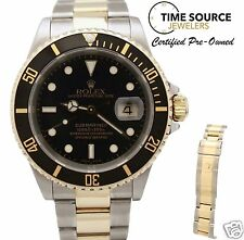 "Rolex Submariner Automatic Black 18K Gold & SS Two Tone 16613 ""P"" 2001 Watch"