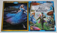 Disney Blu-ray DVD Lot - Cinderella (Used) Alice in Wonderland (Used)
