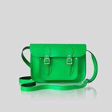 "The iconic tapón Cambridge Satchel 11"" Green Neon crossbody Bag 100% Leather"