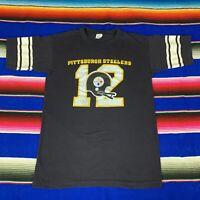 VTG Champion Pittsburgh Steelers NFL Mens S 12 Bradshaw T Shirt VGC