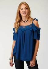 Roper Sleeveless Novelty Embroidered Printed Knit Blue Shirt Small
