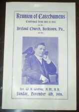 1906, DRYLAND CHURCH PROGRAM, HECKTOWN, PA, REUNION OF CATECHUMENS