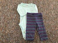 Carter's Green Bodysuit & Striped Leggings NB