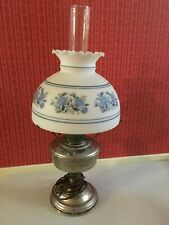 Vtg. Alladin Oil Lamp with Aladdin Burner & Milk Glass Shade with Blue Flowers