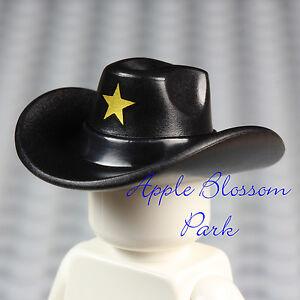 NEW Lego Minifig Black COWBOY HAT -Movie Sheriff Robot Head Gear Cap w/Gold Star
