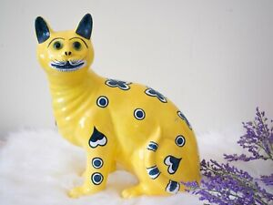 Vintage Galle Style Cat - Saks Fifth Avenue - Large Yellow Cat - Made in Italy