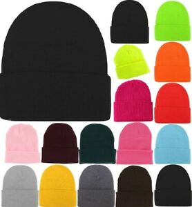 MEN MENS Womens Plain Winter Ski Thermal WARM Knit Knitted BEANIE HAT Cap Bulk