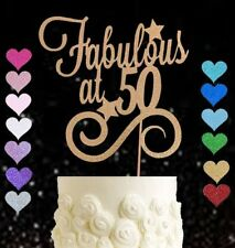 Fabulous at 50 glitter cake topper birthday seventieth party 50th any colour 50s