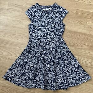 Girls M&S Blue Floral Jersey Dress 8-9 Years
