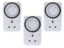 3 X 24 Horas 24 horas a la red eléctrica enchufe en temporizador interruptor Reloj De Tiempo Socket Uk 3 Pin Adaptador