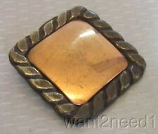 "50s vtg modernist MIXED METAL BUTTON XL 40mm big 1-5/8"" square framed copper"