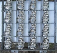 Nice Old 'Happy Easter' Bunny Industrial Chocolate Candy Mold metal 16 rabbits