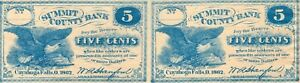 1862 -  Two 5 Cent 5C Fractional Notes - Summit County Bank - Cuyahoga Falls OH