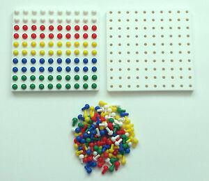 Square Peg Board  + 200 pegs maths Montessori 16cmx16cm 100 holes pegs SEN