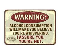 Metal Plate Sign Warn Alcohol Whisper shh Beer Happy Hr Home Wall Cave Decor Tin