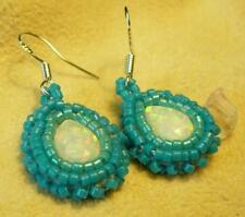 Gemstone Blue Fire Opal Sterling Silver Earrings - Native American Indian