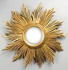 Vintage Mid Century French Giltwood Gold Sunburst Starburst Mirror