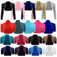 New Womens Short Sleeve Beaded Plus Size Long Bolero Cardigan Shrugs 8-26