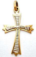 Vintage 14K Gold Cross Charm Yellow & White Pendant for Bracelet or Necklace